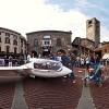 A real glider in Piazza Vecchia in Bergamo Alta