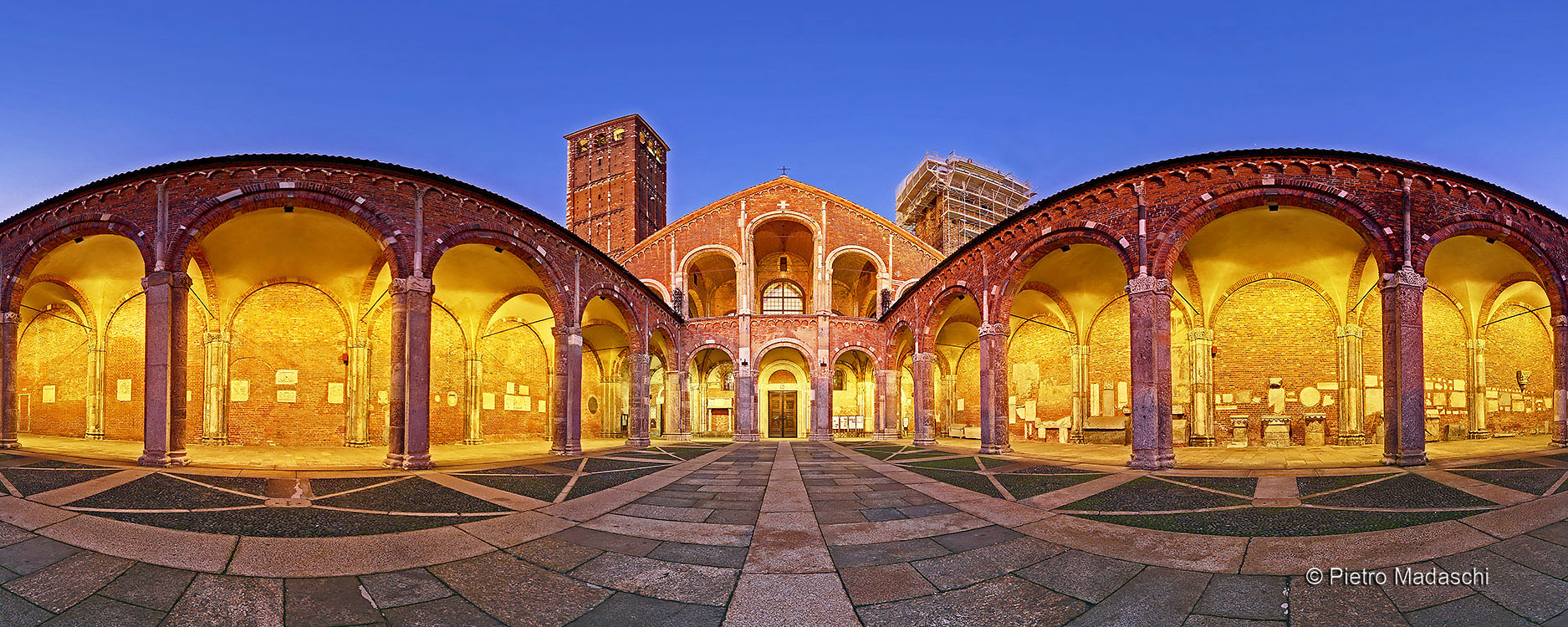 The Basilica of St Ambrose: the Atrium of Ansperto and the Facade at evening