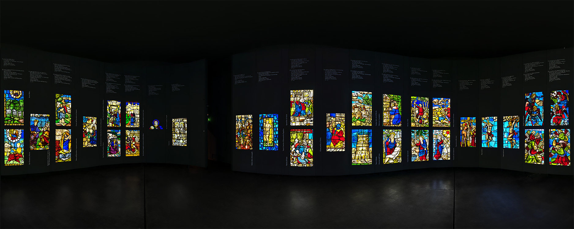 "The ""Sala delle Vetrate"" presenting examples of the 55 stained glass windows"