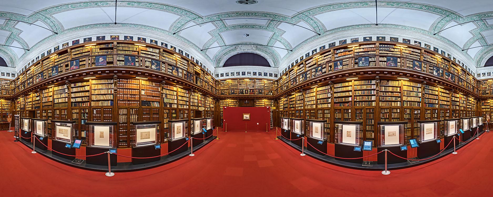 The great Federiciana Hall featuring the Codex Atlanticus by Leonardo Da Vinci