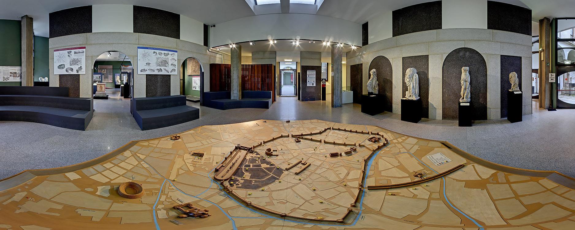 The Museum entrance with a scale model of the Roman Milan