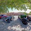 Vintage cars in the old court of Grazzano Visconti near Piacenza